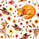 Cute watercolor animals on floral background. - 173925148