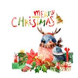 Cute bird with merry christmas congratulations - 173925165
