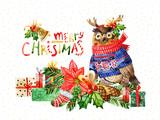 Cute bird with merry christmas congratulations - 173925192