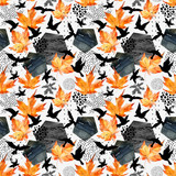 Autumn watercolor background: leaves, bird silhouettes, hexagons. - 173925928