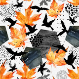 Autumn watercolor background: leaves, bird silhouettes, hexagons. - 173925966