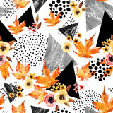 Hand drawn falling leaf, doodle, water color, scribble textures for fall design. - 173926173