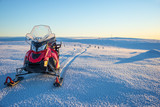 Snowmobile in a snowy landscape in Lapland, near Saariselka, Finland - 173927194