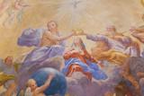 Fresco in San Gimignano - Holy Trinity and Mary - 173927594