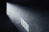 3d rendering of grunge prison cell with the shadows of stanchions projected on wall from light ray on window - 173927703