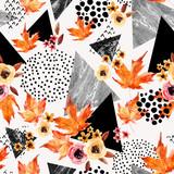 Autumn background: falling leaves, flowers, geometrical elements. - 173927974