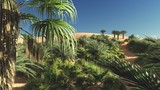 Abundant tropical plants on wilderness in the evening, 3d rendering - 173928164