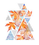 Abstract autumn geometric poster. - 173928300