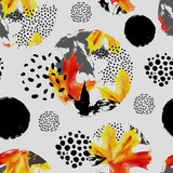 Autumn leaves in circles, watercolor seamless pattern. - 173928796