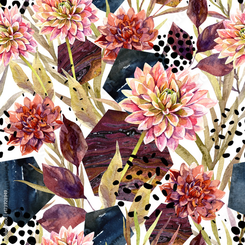 Autumn watercolor floral arrangement, seamless pattern. - 173928949