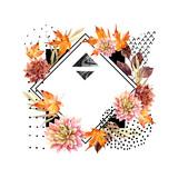 Autumn watercolor floral arrangement - 173929133