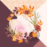 Autumn watercolor wreath on geometric background with flowers, leaves, doodles. - 173929188