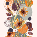 Abstract floral and geometric seamless pattern. - 173930545