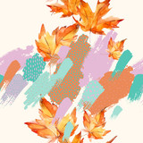 Autumn watercolor leaves on colorful splatter background - 173930744