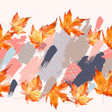 Autumn watercolor leaves on colorful splatter background - 173931569