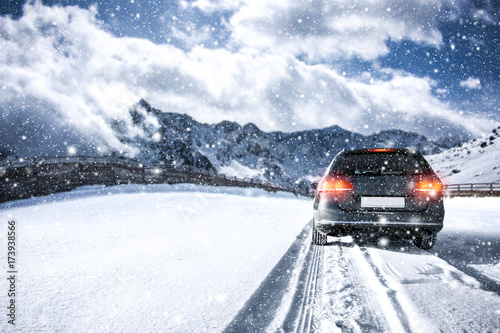 car and winter road