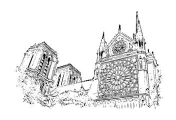 Vector Sketch of Notre-Dame de Paris France in illustration.