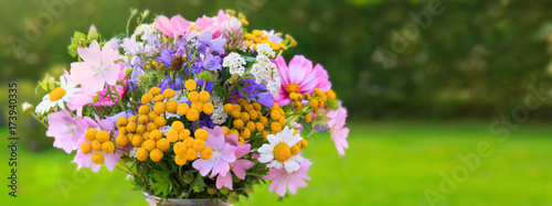 Sticker Bouquet colorful wild flowers . Holiday background.