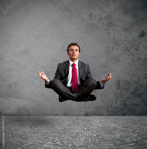Deurstickers School de yoga Businessman practice yoga