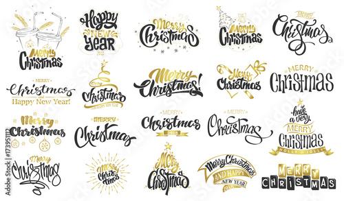 happy new year handwritten modern brush lettering typography set