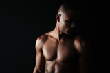 Close-up photo of afro american musculary young man - 173961759