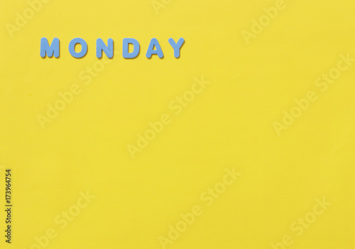 Monday word formed with block letters
