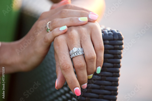 Staande foto Manicure Diamond ring on a finger.