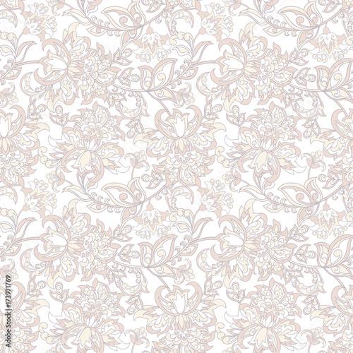 floral vector illustration damask background - 173971769