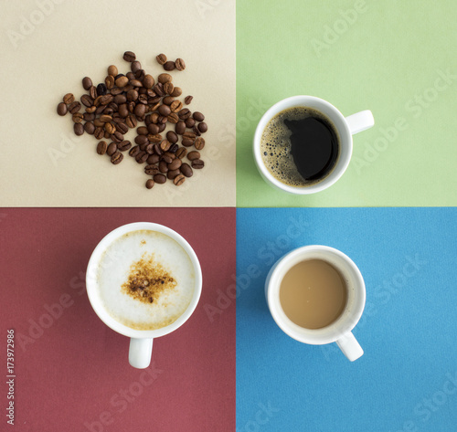 Wall mural Cup of coffee top view