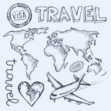 Hand drawn travel illustration. Vector illustration.