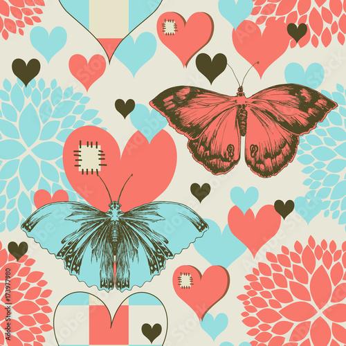 motyle-i-serca-retro-milosc-wzor