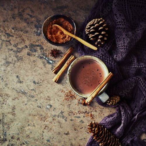 Fotobehang Chocolade Hot Chocolate, cones and spices on stone background