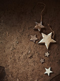 Wooden Christmas Stars on Rustic Background - 173979128