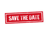 SAVE THE DATE red stamp seal text message on white background