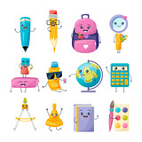 Set of school funny office supplies characters. School writing stationery. - 173985972