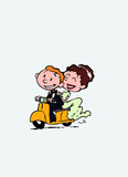 Couple of newlyweds riding a red motorcycle, happy. Vector isolated characters.