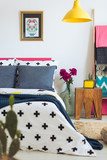 King-size bed with blue pillows - 173989397