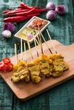 Thai food, Grilled Pork Satay with Peanut Sauce and Vinegar