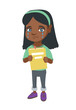 African-american upset little girl shedding tears and showing book. Sad girl crying and holding book in hands. Vector sketch cartoon illustration isolated on white background.