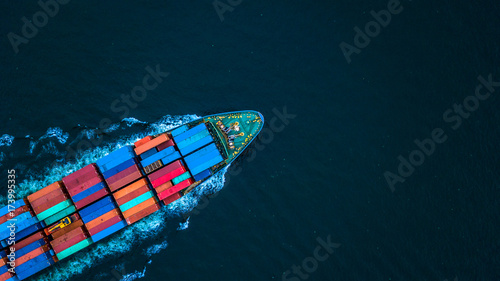 Leinwanddruck Bild Aerial view from drone, container ship or cargo ship in import export and business logistic.