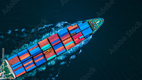 Leinwandbild Motiv Aerial view from drone, container ship or cargo ship in import export and business logistic.