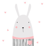 Cartoon funny bunny. Vector hand drawn illustration. - 173998394
