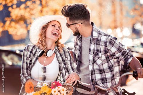 Beautiful young couple having fun outdoors