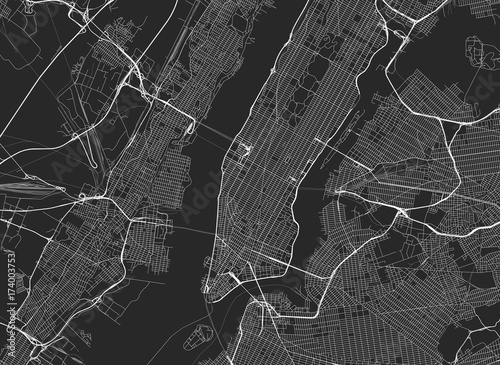 Naklejka Vector black map of New york