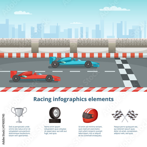 Fotobehang F1 Sport infographic with race cars of formula 1. Different cars and driver tools