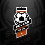 Soccer club logo, on a dark background. - 174009765