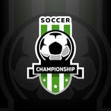 Soccer championship logo, on a dark background. - 174009772