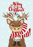 Greeting card with Christmas deer. Merry Christmas hand drawn lettering.
