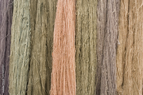 flax fiber hank (birch), of different colors (pink, lilac, beige, Brown), obtain Poster
