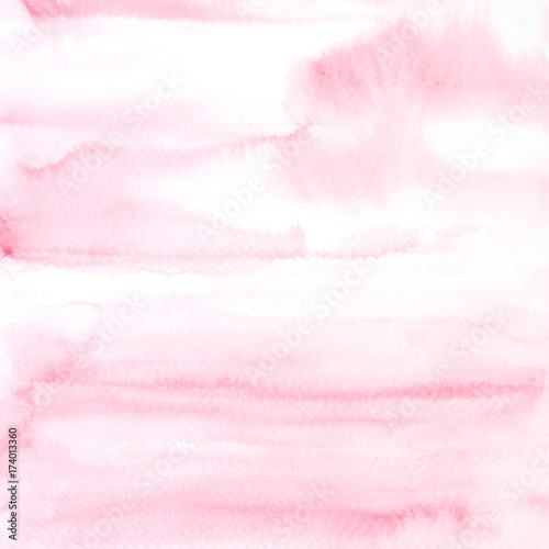 Pink abstract watercolor painting textured on white paper background - 174013360